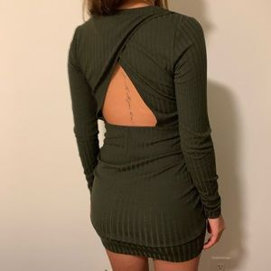 Dark green body con cutout dress